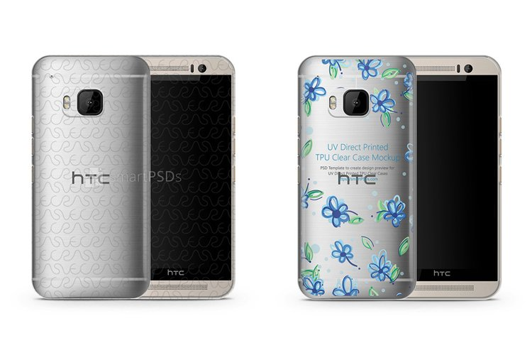 HTC One M9 UV TPU Clear Mobile Case Design Mockup 2015 example image 1