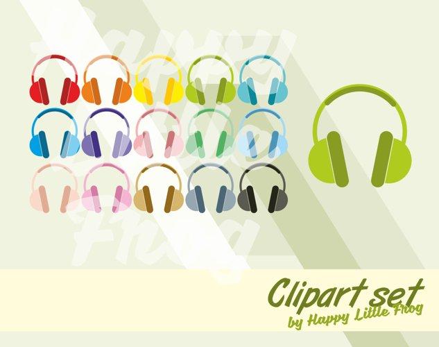 Headphones clipart, earphones clipart, headphones graphic design, music print, music clipart, headpones digital print, music icon example image 1
