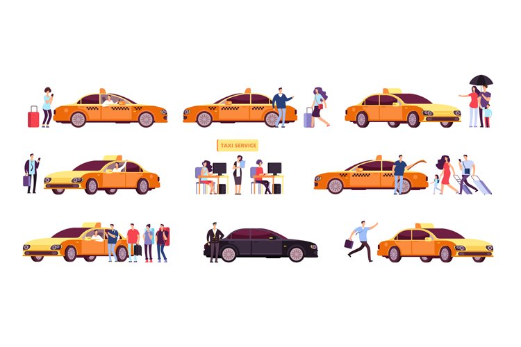 People and taxi. Cab drivers passenger and car in ride. Taxi example image 1