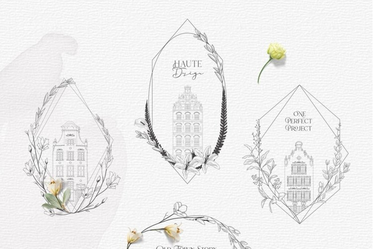 Flowered Frames. Old Town Story. Hand-drawn Vintage Houses.