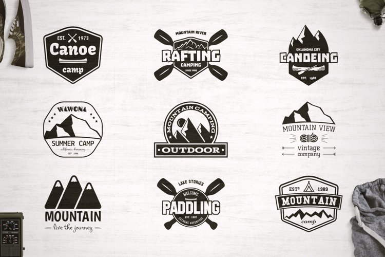 9 Camping SVG Cut Files Bundle for Cricut / Logos / Crafters example image 1