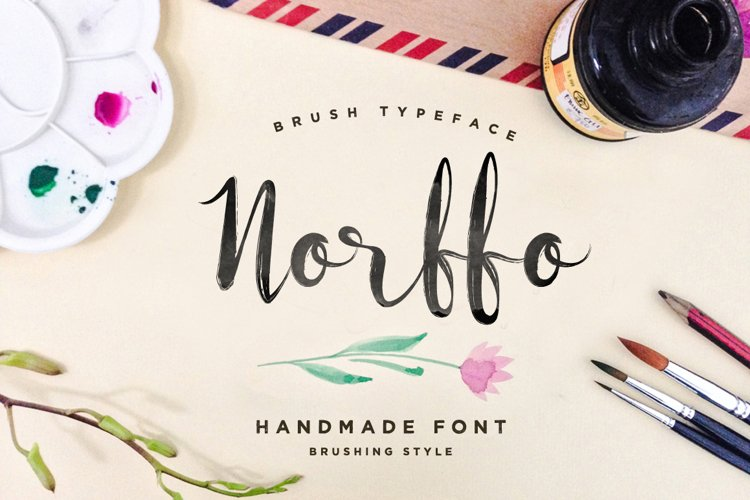 Norffo Font + Watercolor Brush example image 1