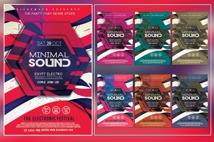 Electro Egypt Minimal Sound Photoshop Flyer Template example image 1