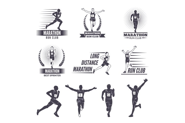 Logos or labels for runners. Marathon graphics example image 1