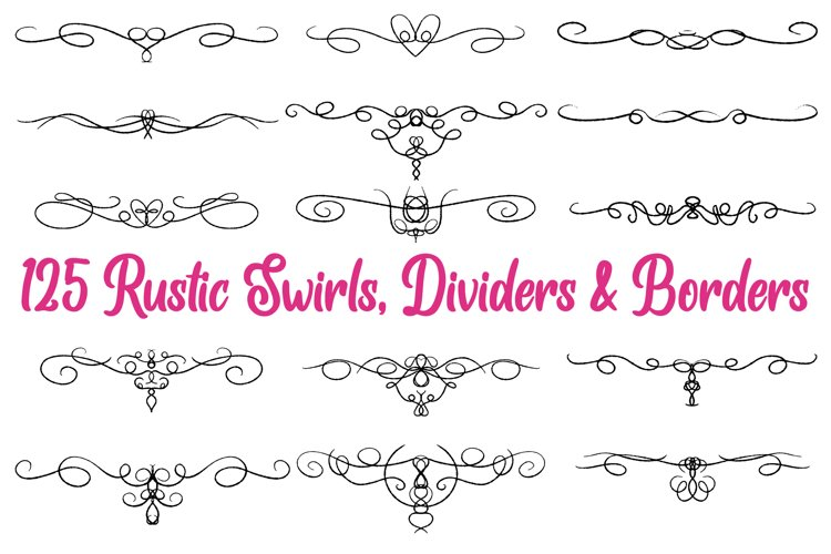 125 Swirl Borders Separator Dividers & Flourishes Collection example image 1