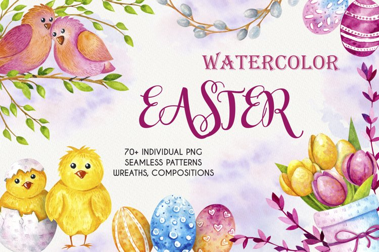 Watercolor Easter - Clipart example image 1