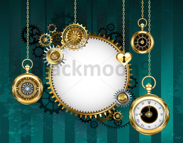 Round Mechanical Banner on Green Background ( Steampunk ) example image 1