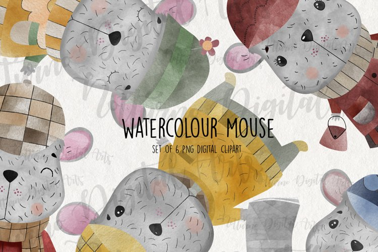 Watercolor Mouse clipart for scrapbooking. Set of 6 mice