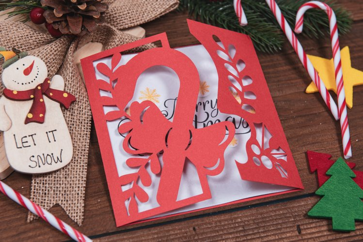 Christmas Candy Cane Invitation cutting file example image 1