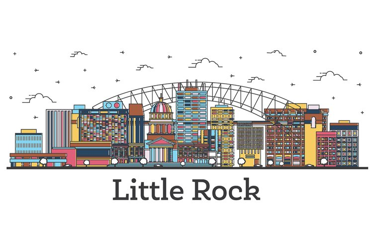 Outline Little Rock Arkansas City Skyline with Color example image 1