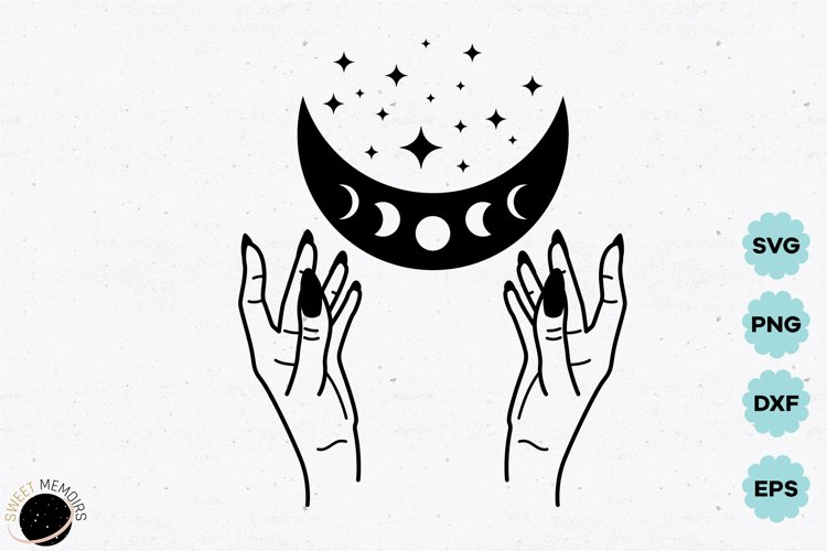 Witch hands and celestial moon SVG
