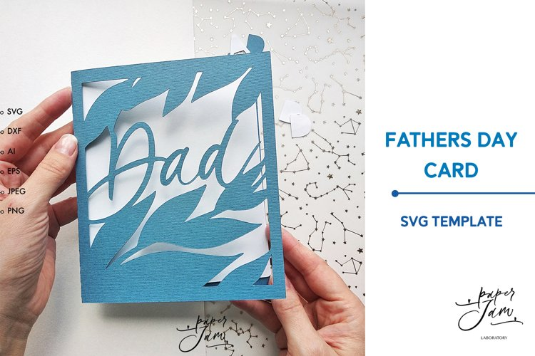 Fathers Day card SVG layered svg dxf papercut template card