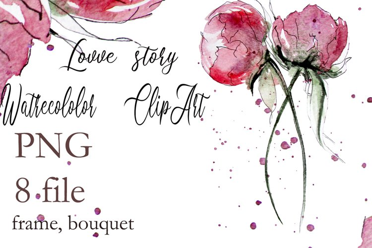 Peony Watercolor clipart Floral bouquets