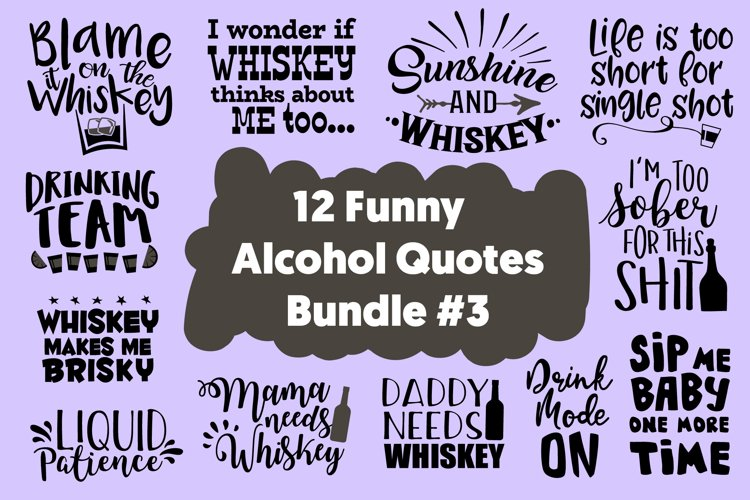 12 Funny Whiskey Drinker Quotes Bundle SVG for Cricut Vector