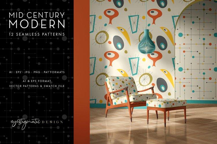 12 Seamless Mid Century Modern Patterns - Set 2