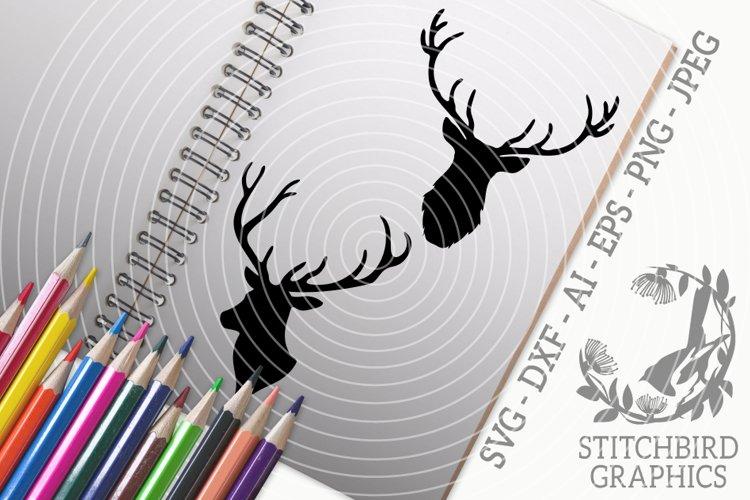 Stag Heads Bundle SVG, Silhouette Studio, Cricut, Eps, JPEG example image 1