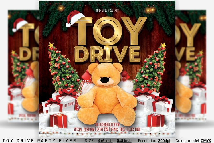 Toy Drive Party Flyer example image 1