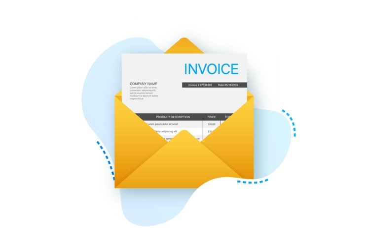 Invoice icon vector, email message received with bill docume example image 1