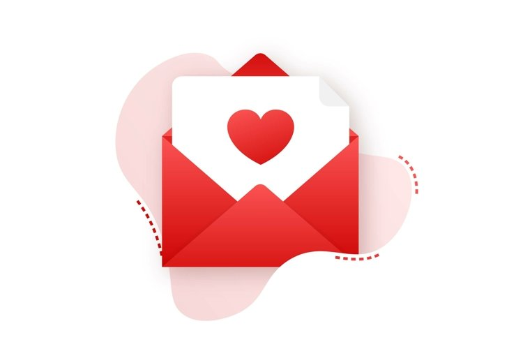Vector love icon red envelope. Romantic envelope. Envelope example image 1