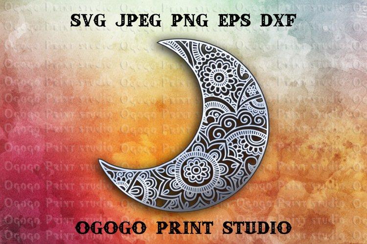 3D Layered Moon Svg, Mandala Svg, Zentangle SVG
