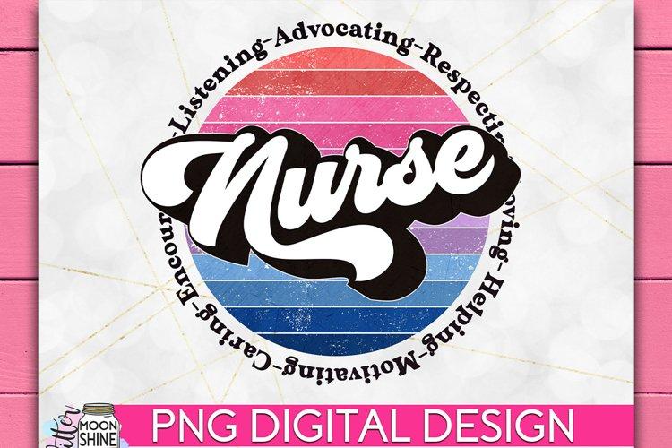 Nurse Retro Circle PNG Sublimation
