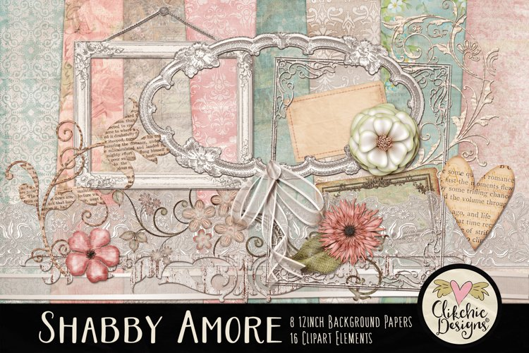 Digital Scrapbook Kit - Shabby Floral Scrapbooking Clipart example image 1