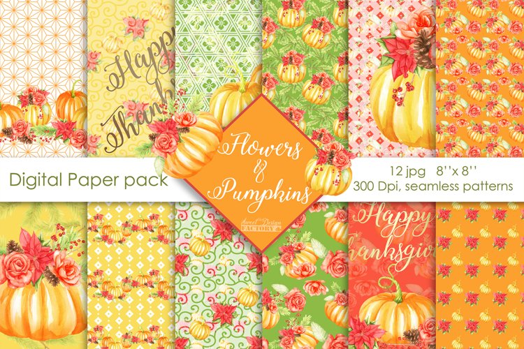 Pumpkins and flowers digital paper pack example image 1