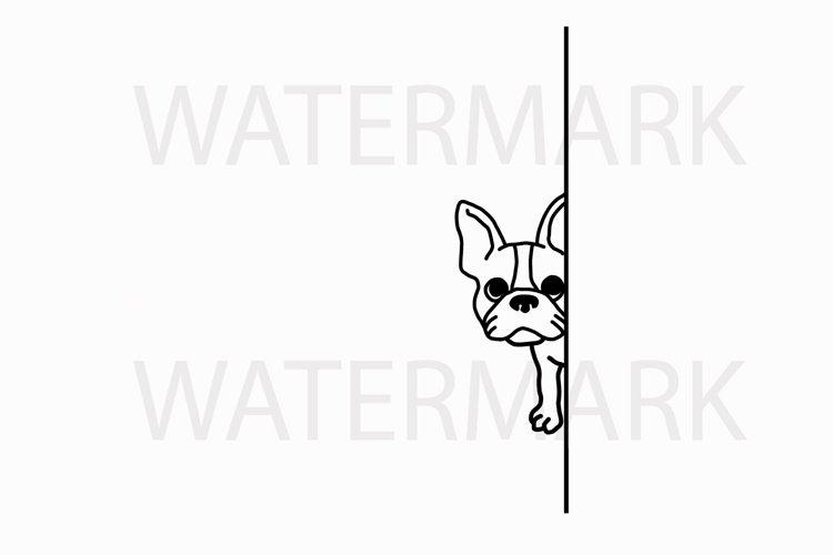 French Bulldog Hiding peeping at you - SVG/JPG/PNG Hand Drawing example image 1