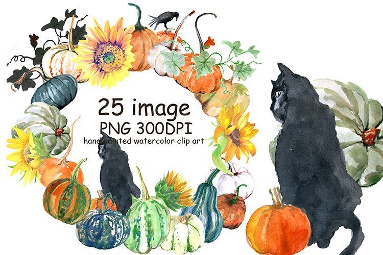 Pamkins and Black Cats Weatercolor Clipart example image 1