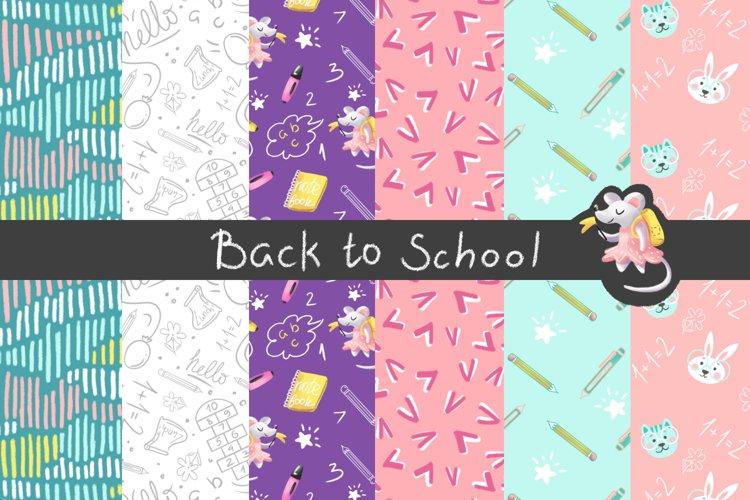 Back to School Digital Paper, School girl paper