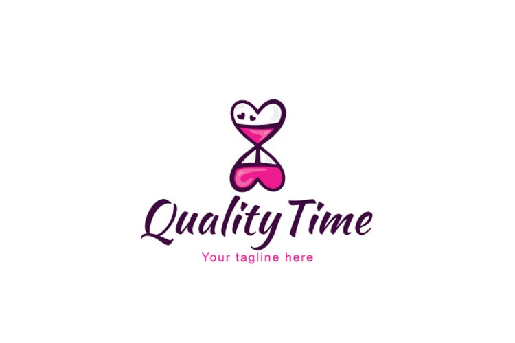 Quality Time - Cute Hour Glass Iconic Stock Logo Template example image 1