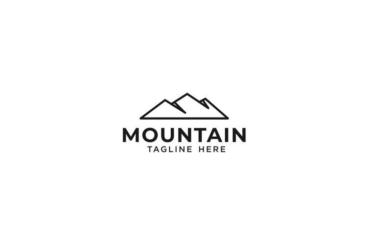 Simple line mountain logo monoline Vector example image 1