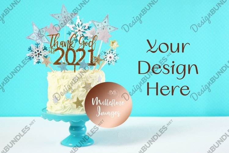 Happy New Year Mockup 2021 New Year Cake Mockup Styled Photo example image 1
