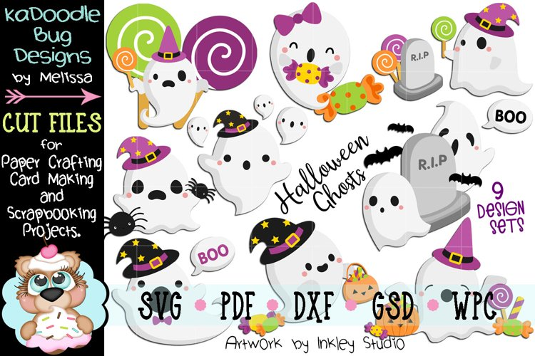 Halloween Ghosts Bundle - 9 Cut File Designs - SVG example image 1
