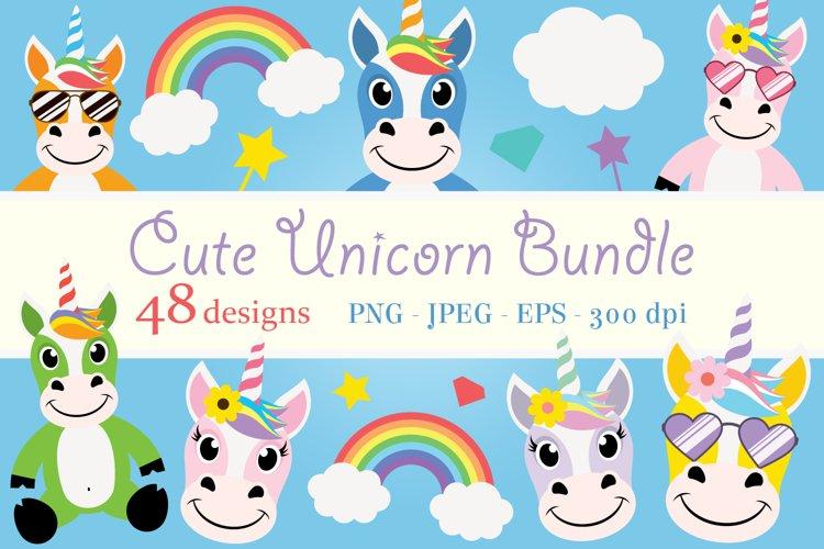 Cute Unicorn Clipart Bundle, Magical Horses, PNG, JPEG, EPS example image 1