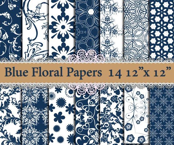 Blue Floral digital paper example image 1