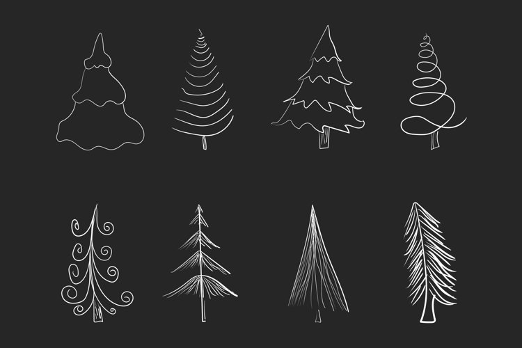 Doodle pine trees isolated vector illustration. example image 1
