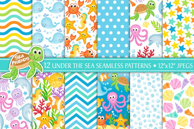 Under the sea digital papers, Under the sea patterns, Ocean