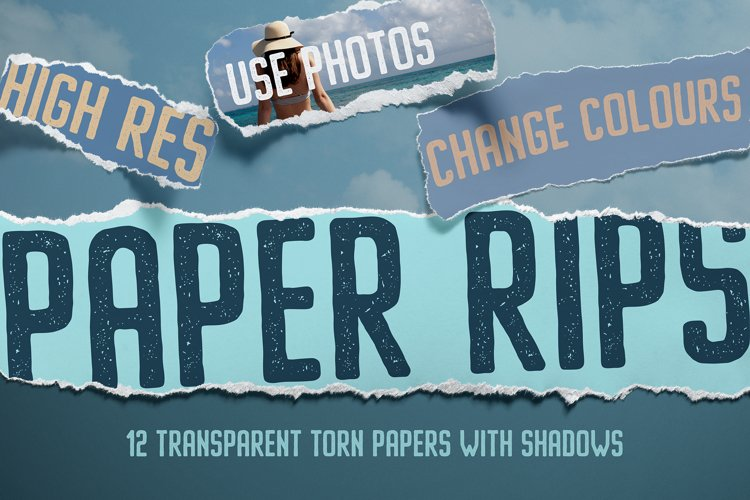 12 Isolated Paper Rips example image 1