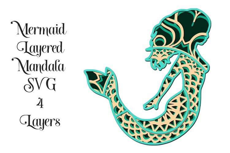 Mermaid Mandala 4 Layered 3D Design SVG example image 1