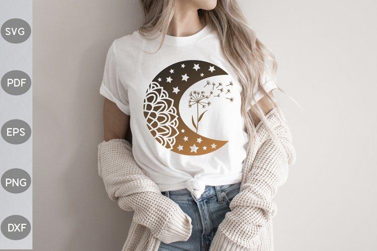 Moon and Dandelion SVG Design