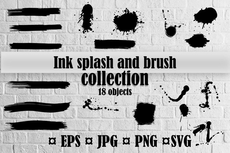 Ink splash and brush vector collection
