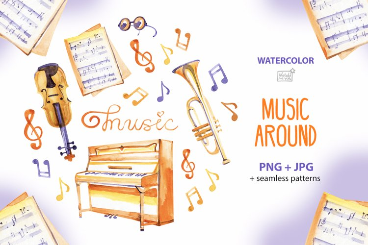 Music around - watercolor cliparts example image 1