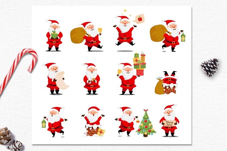 Vector set with cute santa claus character