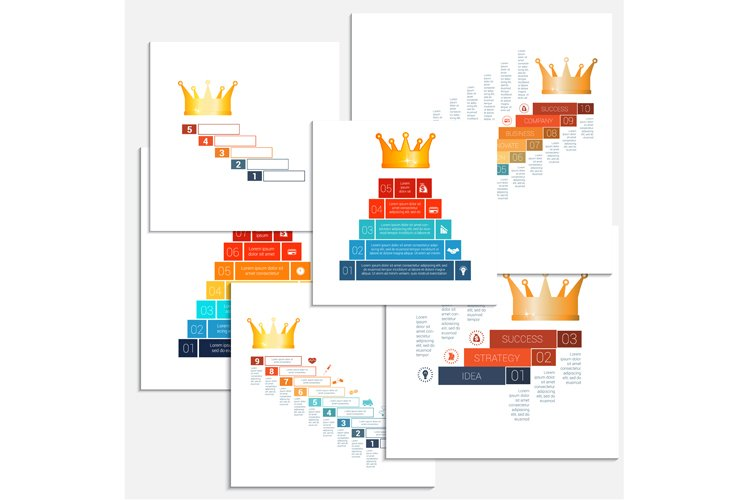 Crown infographic. Staircase, pyramid and crown. example image 1
