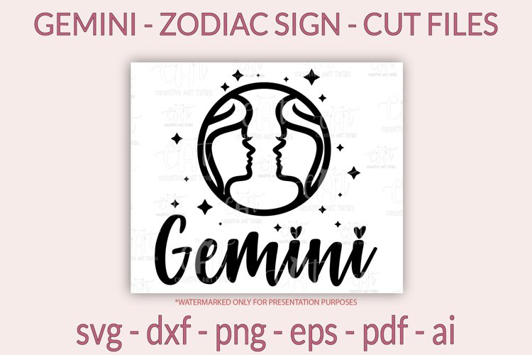 Gemini SVG - Zodiac sign SVG - Horoscope SVG, PNG, cut files