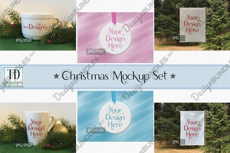 Christmas Mockup Bundle, Mug, Ornament, Flag, Xmas Mock-Ups example image 1