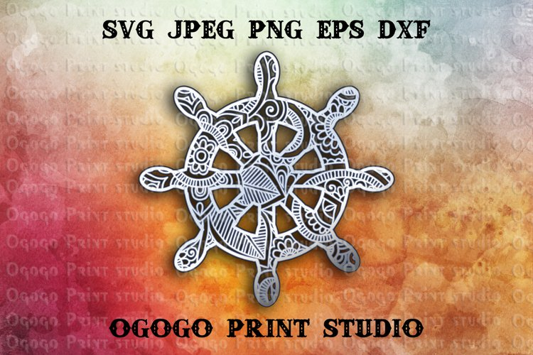 3D Layered Ships wheel Mandala Svg, Zentangle SVG, Sea Svg