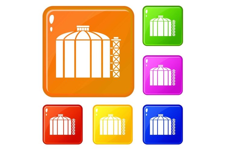 Oil storage tank icons set vector color example image 1