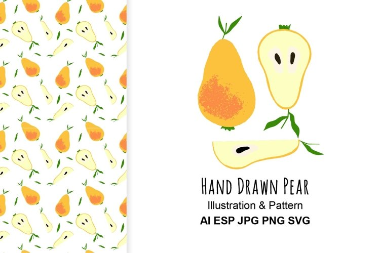 Pear illustration and pattern.
